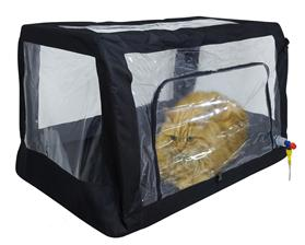 The Kruuse oxygen cage/tent that can be used to deliver oxygen at a veterinary clinic or at home